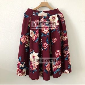 Burgundy/Blue Floral Midi Skirt